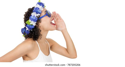 Profile of a black woman calling someone. She wears a blue and white wreath. Blue sunglasses. Shouting. Space for advertising or text content on the left side.
