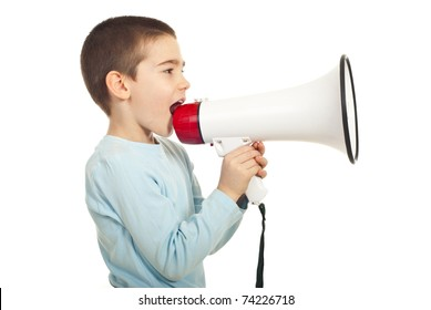 Profile of boy shouting into loudspeaker isolated on white background