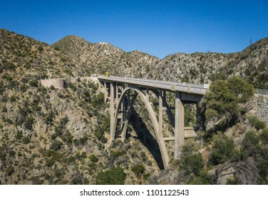 Profile of bridge across a valley in the San Gabriel mountains of Los Angeles California.