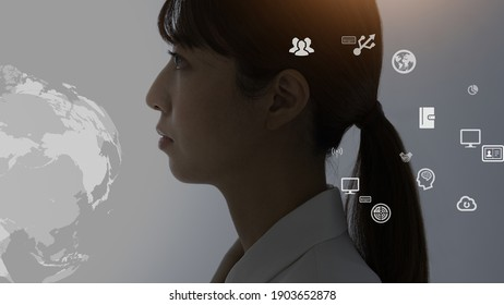 The profile of a business woman and the business icons that appear one after another