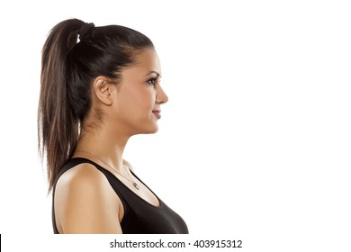 profile of dark skinned beautiful young woman