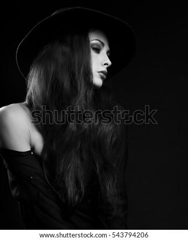 Profile Expressive Female Model Posing Black Stock Photo