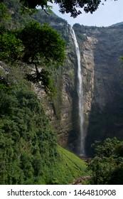 Profile of the Gocta waterfall in Amazonas-Peru