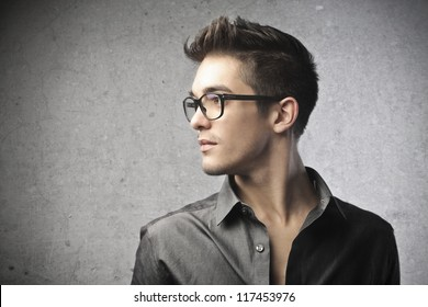 Profile of a guy with glasses