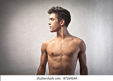 Profile of a handsome bare-chested man