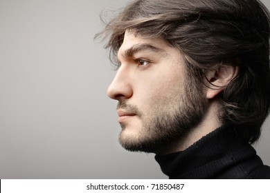 Profile of a handsome man