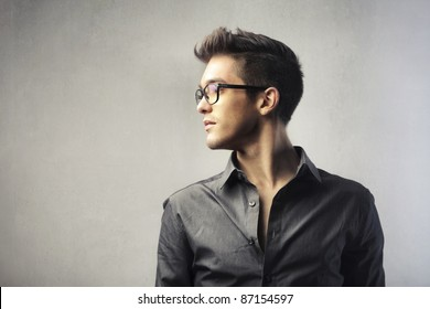 Profile of a handsome young man
