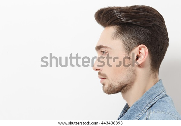 Profile Handsome Young Man Jeans Shirt Stock Photo (Edit Now