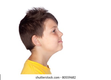 Profile of happy child isolated on white background