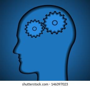 profile of head thinking man with gears