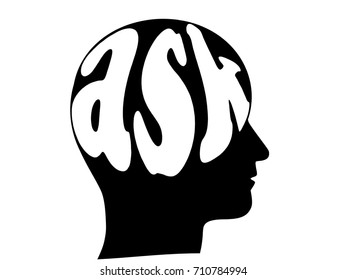 Profile of the human head with the word ASK as a brain