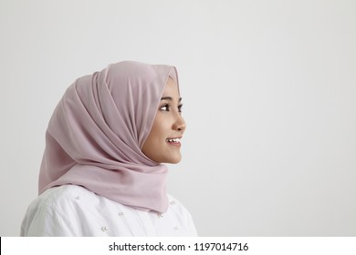 profile of malay tudung  on the white background