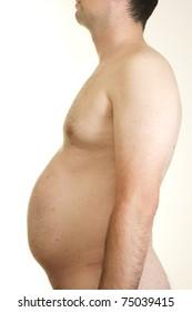 Profile of male torso vith overweighted abdomen