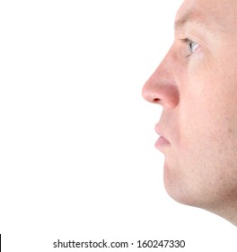 profile of a mans face isolated on a white background with a blank expression