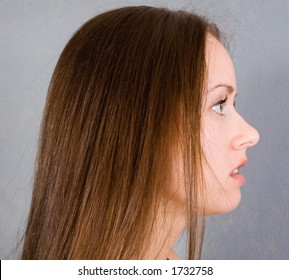 Profile of model against background.