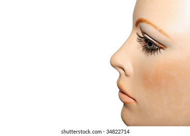 Profile of an old fashioned dummy from 80's isolated on white