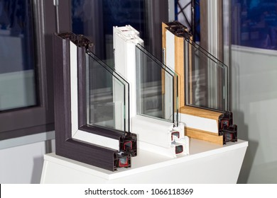 profile of a plastic window, a section of a multi-compartment double-glazed window close-up