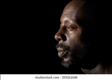 Profile Portrait Of Afro American Man