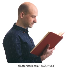 profile portrait of a bald guy reading a book isolated on white background