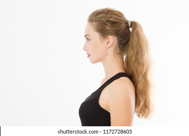 Profile portrait of blonde caucasian girl with long and shiny straight female hair isolated on white background . Beautiful woman european model with straight hairstyle. Copy space.