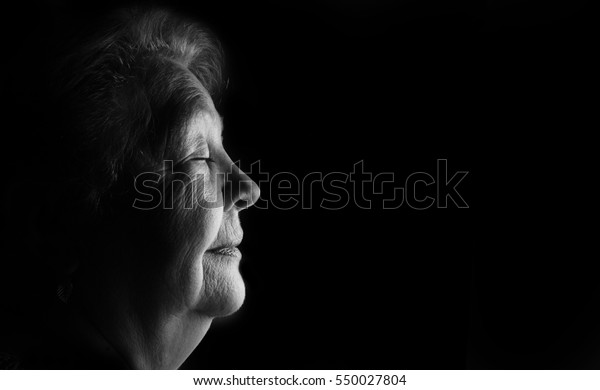 Profile portrait of elderly old women, grandmother, black and white