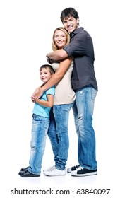 Profile portrait of happy family with child posing on white background