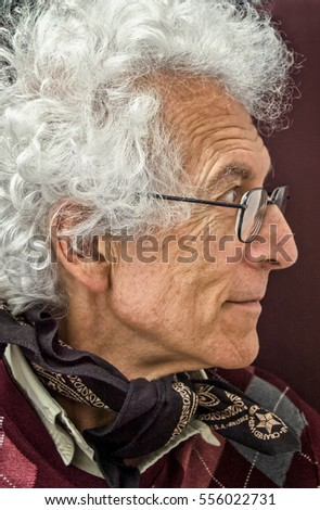 f6394de9ab73 Profile Portrait Old Man Wild Curly Stock Photo (Edit Now) 556022731 ...