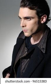 profile portrait young fashion male-close up