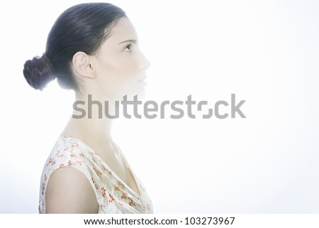 woman looking up profile