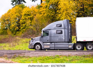 Profile of powerful silver big rig bonnet semi truck with dry van semi trailer for long haul delivery going on the road with autumn yellow trees on roadside