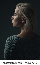 A profile of a proud  blond woman