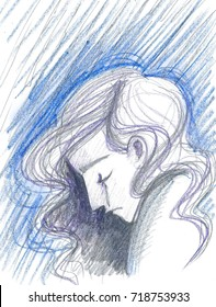 Profile of sad woman with long hair in tears, depression concept artwork