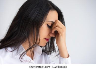 Profile of Serious Beautiful Woman Thinking Deep