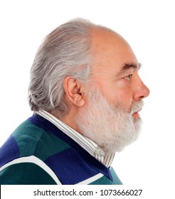 Profile of a serious senior man with white beard isolated on background