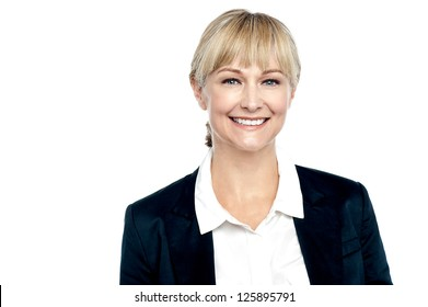 Profile shot of a cheerful business executive. Studio shot on white.