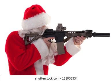 profile shot of Santa holding a gun - white isolation