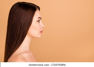Profile side photo of minded girlish girl look wait for skincare salon body treatment to make her skin silky for beauty party isolated over beige color background
