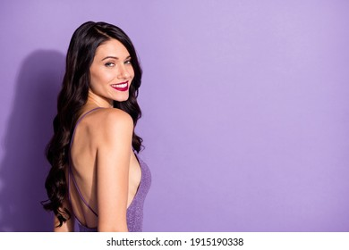 Profile side photo of young attractive woman happy positive smile look gorgeous stunning isolated over purple color background