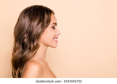 Profile side photo of young happy cheerful beautiful woman with closed eyes dreaming isolated on pastel color background