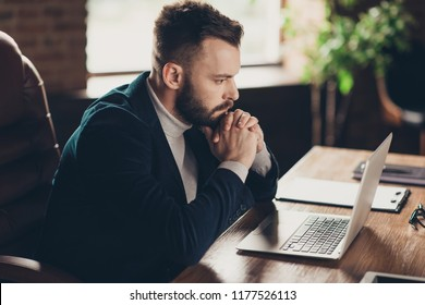 Profile side view of bearded stylish classic smart clever handsome attractive focused confident ceo in blazer, sitting in front of laptop, start-up project strategy planning, modern workplace, station