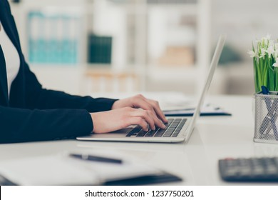 Profile side view cropped classy chic elegant lady hands attorney lawyer manager typing notepad laptop at light white modern workplace workstation desktop table