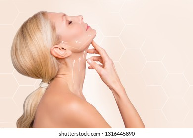 Profile side view half face portrait of nice charming attractive woman perfect neck arrows showing lifting direction massage recovery isolated over beige pastel background