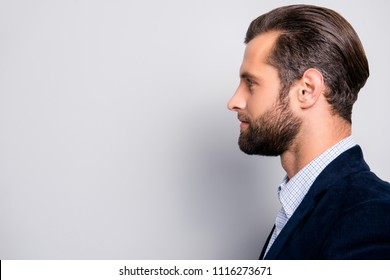 Profile side view half-faced portrait of attractive groomed elegant dreamy successful stunning chic freelancer, dark blue velvet blazer checkered shirt, isolated on gray background copy-space