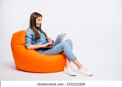 Profile side view of her she nice attractive lovely charming cheerful cheery girl sitting in bag chair using laptop isolated over light white color background