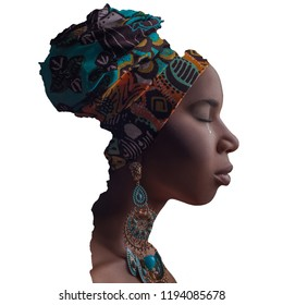 Profile side view of lonely closed eyes crying african woman with tradition headscarf and earrings in the border of Africa continent. composite creative beauty work, isolated on white background.