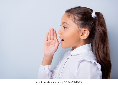 Profile side view of nice cute curious cheerful adorable lovely stylish little small girl with curly pigtails in white formal blouse shirt, announcing news Isolated over grey background