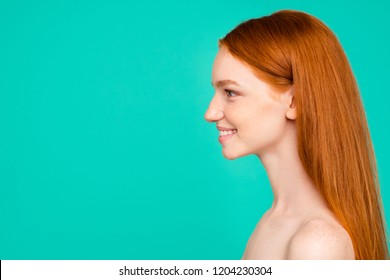 Profile side view of nude cheerful natural red-haired girl, shiny pure fresh smooth flawless skin, using vitamins, detox, collagen, botox, isolated over green turquoise background, copy empty space