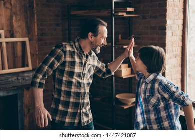 Profile side view photo of charming delighted dad kid have aims champion craft occupation great deal scream shout yeah super team bearded fun plaid trendy stylish shirt indoors