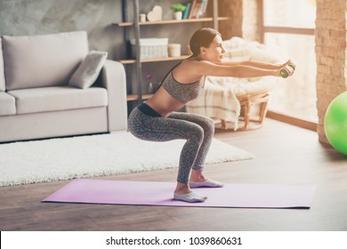 Profile side view photo of enduring strong determined beautiful concentrated tanned brunette wearing gray stylish sportive top and leggings woman doing deep squats with dumbbells in outstretched arms