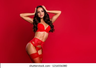 Profile side view photo of stunning, adorable, good-looking lady in gorgeous boudoir lace on suspenders with modern wavy hair isolated on bright red background hold hands on head look at camera